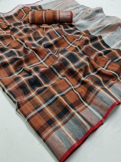 Multi Colored Beautiful Woven Linen Saree - Sneha