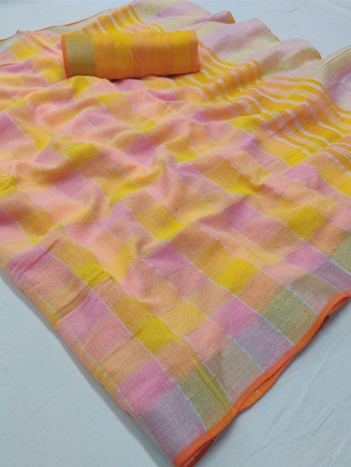 Multi Colored Beautiful Woven Linen Saree - Sneha