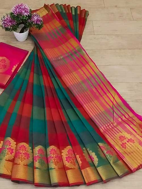Multi Colored Beautiful Zari Weaves And Checks Designs Saree