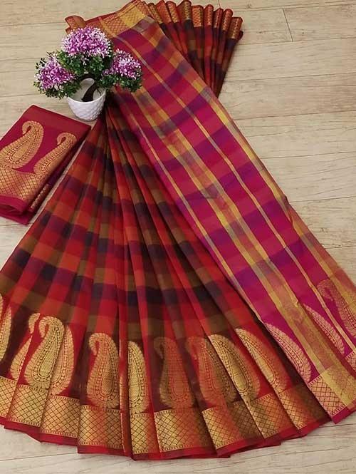 Multi Colored Beautiful Zari Weaves And Checks Designs Saree