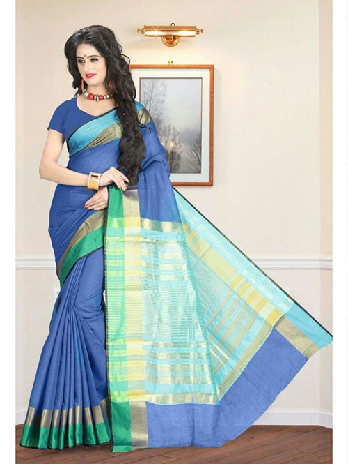 Multi Colored Cotton Material Exclusive Zari Border Saree
