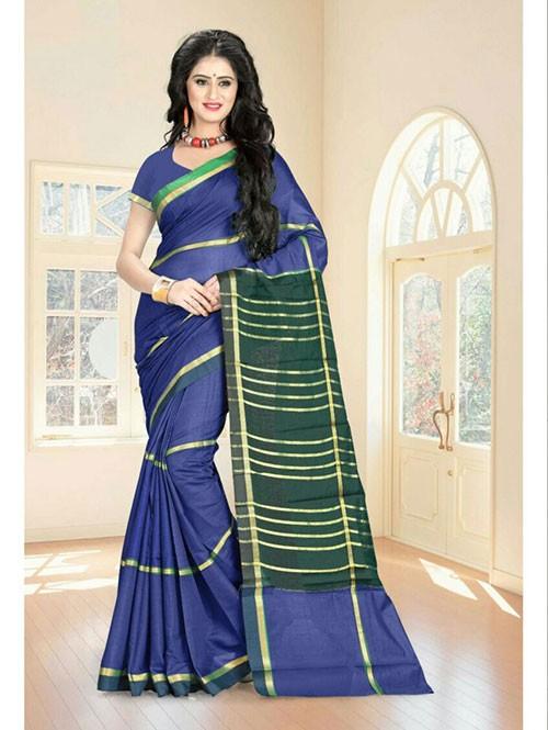 Multi Colored Cotton Material Exclusive Zari Border Saree