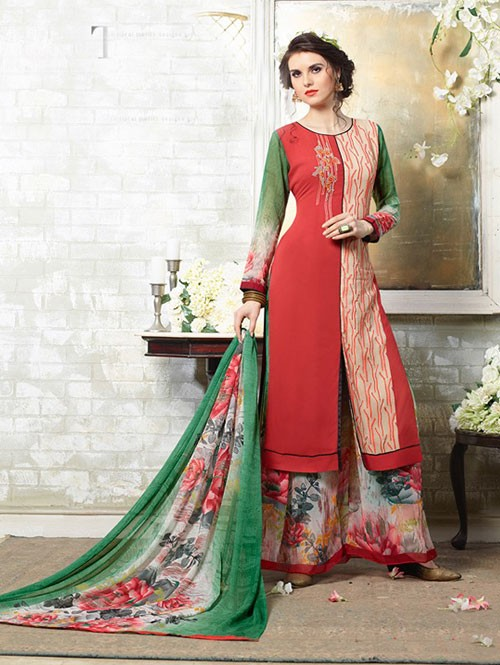 Multi Colored Designer Suit With Beautiful Plazzo.