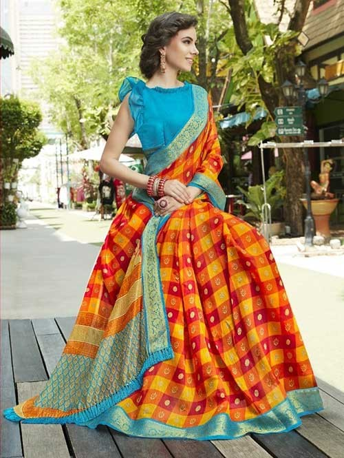 Multi Colored fancy Cotton Saree - Chirala