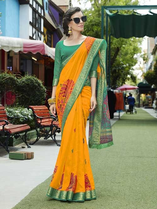 Multi Colored fancy Cotton Saree - Chirala