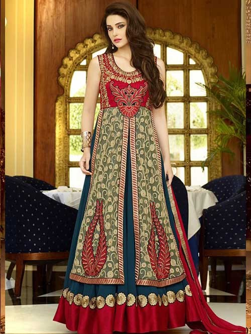 Multi Colored Faux Georgette With Net Salwar Suit