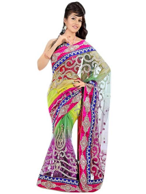 Multi Colored Net embroidery Designer Saree