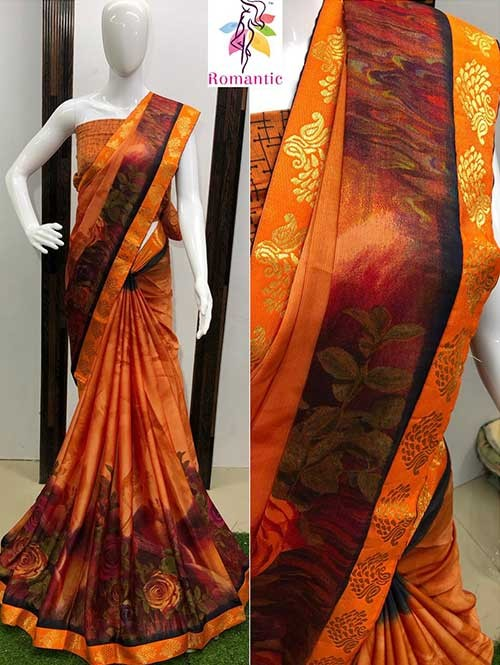Multi Colored Printed Moss Chiffon Saree With Banarasi Border