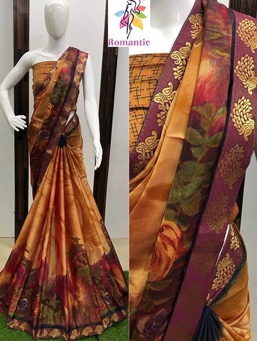 Multi Colored Printed Moss Chiffon Saree With Banarasi Border