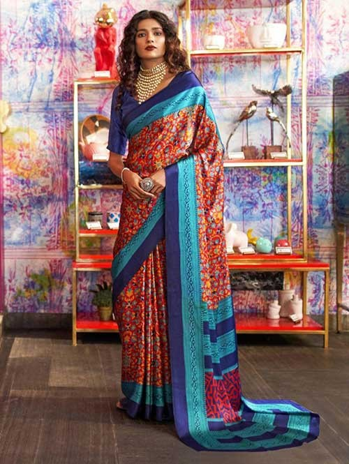 Multi Colored Printed Satin Japanese Crepe Saree in Best Qaulity - Kshwetlana