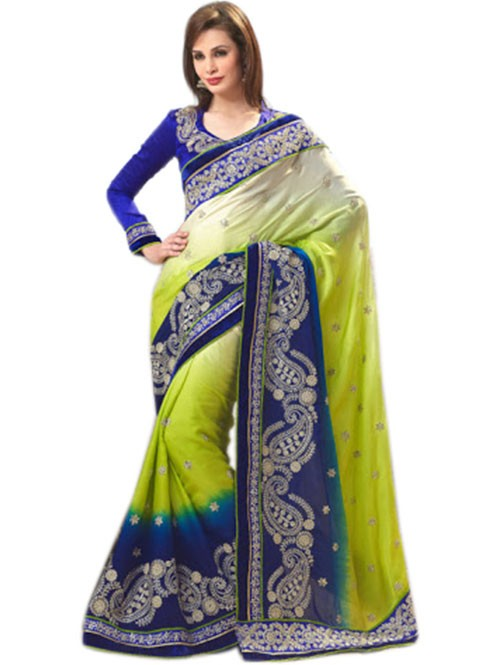 Multi Colored Pure Georgette Designer Saree with beautiful Embroidery