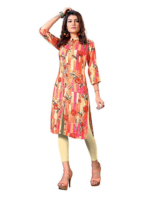 Multi Colored Straight Rayon Print Kurti Online