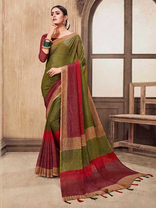 Multi Colored Zari Chiffon Blended Silk Fancy Saree
