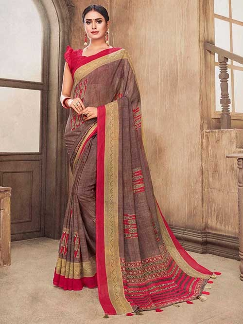 Multi Colored Zari Chiffon Blended Silk Fancy Saree