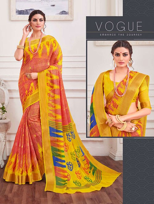 Multi Colored Zari Cotton Blended Silk Fancy Saree - designer saree