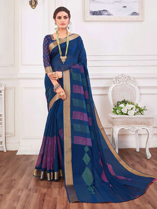 Multi Colored Zari Cotton Blended Silk Fancy Sare