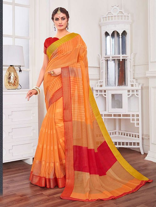Multi Colored Zari Cotton Blended Silk Fancy Saree