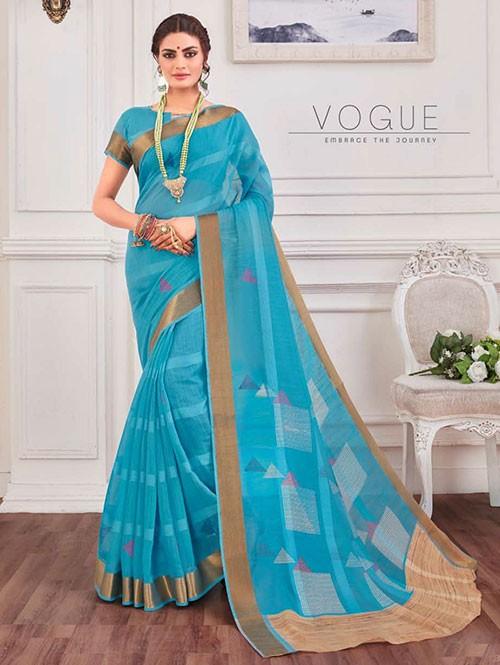 Multi Colored Zari Cotton Blended Silk Fancy Saree