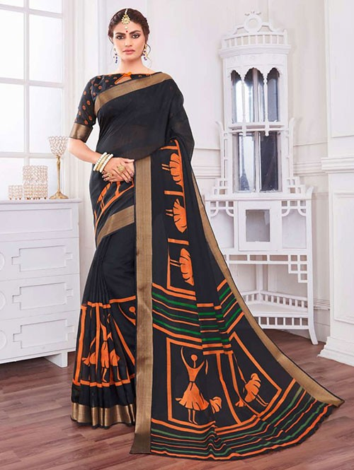 Multi Colored Zari Cotton Blended Silk Fancy Saree - cotton sarees online shopping