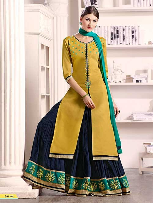 Mustard Colored Beautiful Embroidered Silk Cotton Lehenga Suit