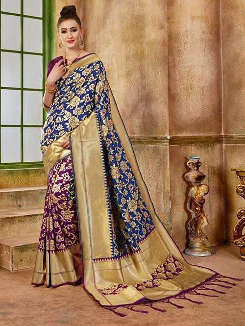 Navy and Purple colored Beautiful Banarasi Silk Saree