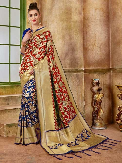 Navy and Red colored Beautiful Banarasi Silk Saree
