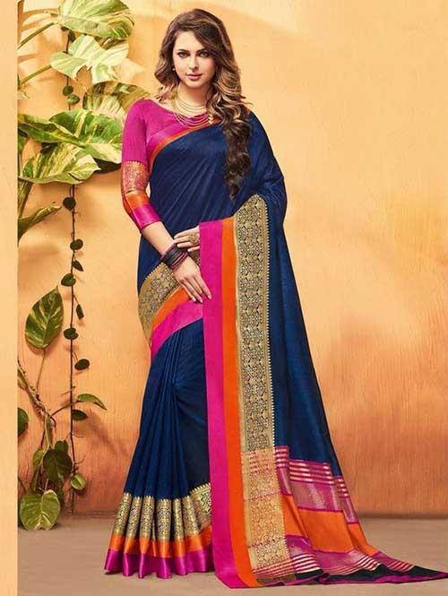 Navy Blue Color Beautiful Cotton Silk Saree