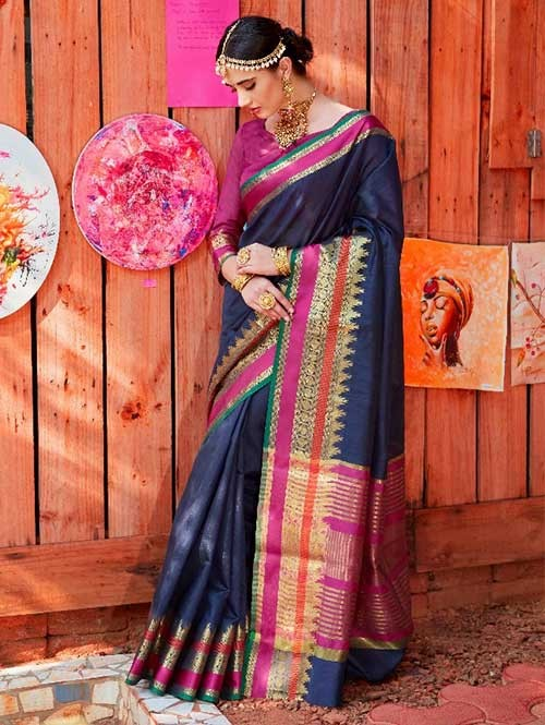 Navy Blue Color Beautiful Handloom Waving Silk Saree