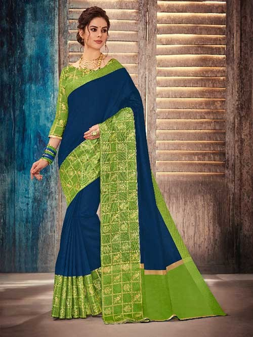 Navy Blue Colored Beautiful Banarasi Silk Saree With Rich Blouse