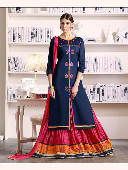 Navy Blue Colored Beautiful Embroidered Silk Cotton Lehenga Suit