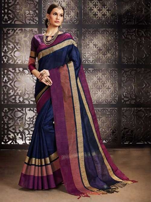 Navy Blue Colored Beautiful Raw Silk Saree With Double Blouse