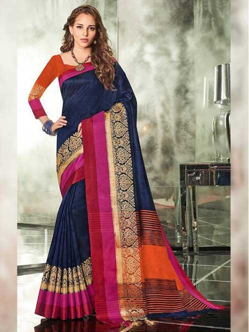 Navy Blue Colored Branded Weaving Silk Saree