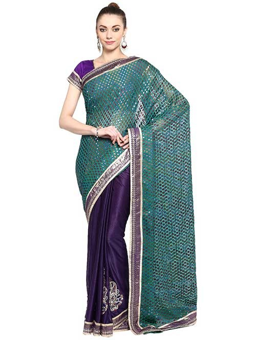 Navy Blue Colored Brasso with Lycra Saree Has Beautiful Embroidered Border.