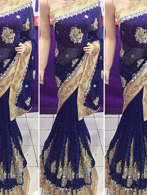 Navy Blue Colored Heavy Embroidered Georgette Saree With Beautiful Mirror-work and Stonework