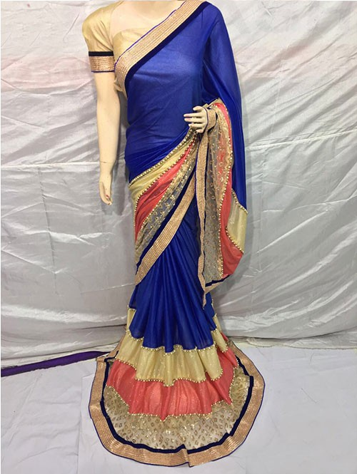 Navy Blue Colored Pure Lycra Saree Has Beautiful Embroidered Border.