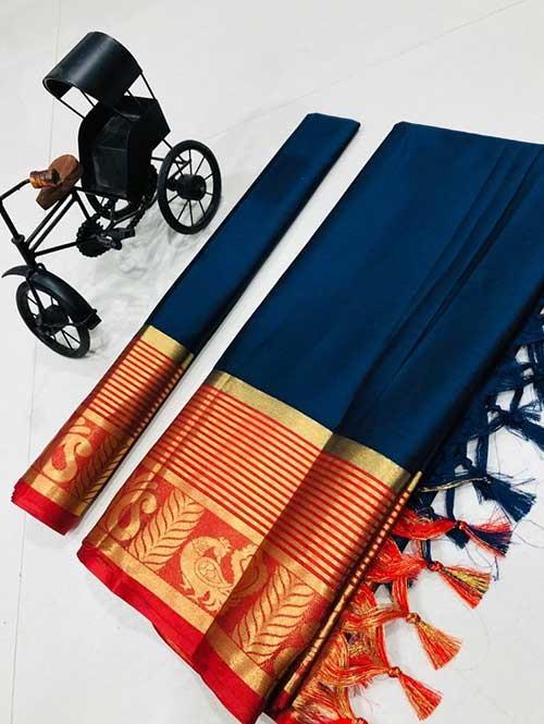 Navy Color Beautiful Weaving Cotton Silk Saree - Rupa