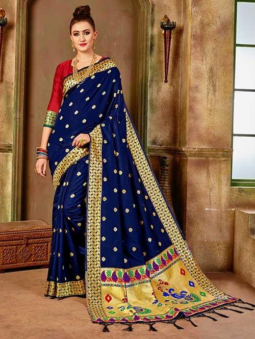 Navy colored Beautiful Banarasi Silk Saree