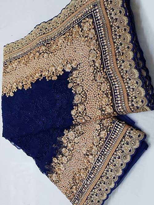 Navy Colored Beautiful Embroidered Net Saree With Dimond work and Pearl work
