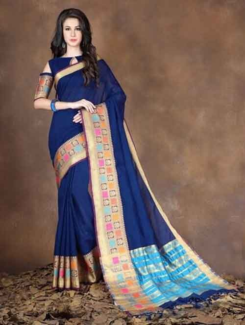 Navy Colored Beautiful Pure Soft Cotton Saree With Exclusive Latkan
