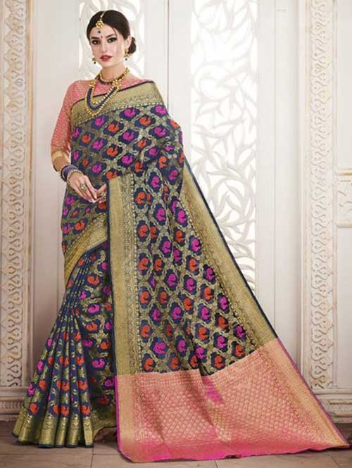 Navy Colored Beautiful Silk Weaving Saree