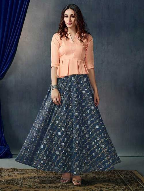 Blue Printed Skirt With New Style Fashionable Peach Top