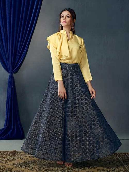 Blue Printed Skirt With New Style Fashionable Yellow Top