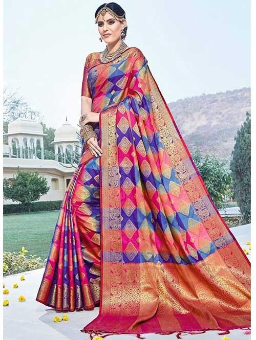 New Branded Multi Colored kanchipuram silk saree