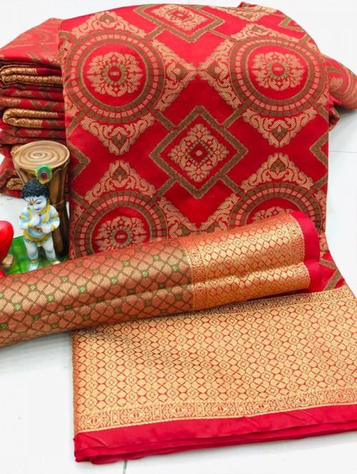 New Design Beautiful Peach Soft Banarasi Patola Saree