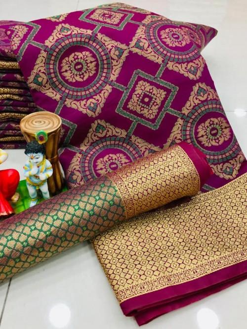 New Design Beautiful Purple Soft Banarasi Patola Saree