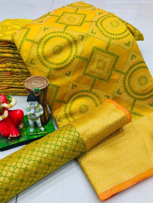 New Design Beautiful Yellow Soft Banarasi Patola Saree