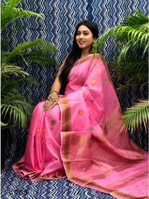 Fancy Pink Linen Printed saree grabandpack