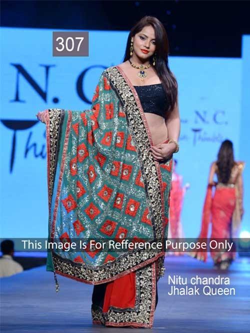 Nitu Chandra in Multi Colored Beautiful Printed Georgette Saree