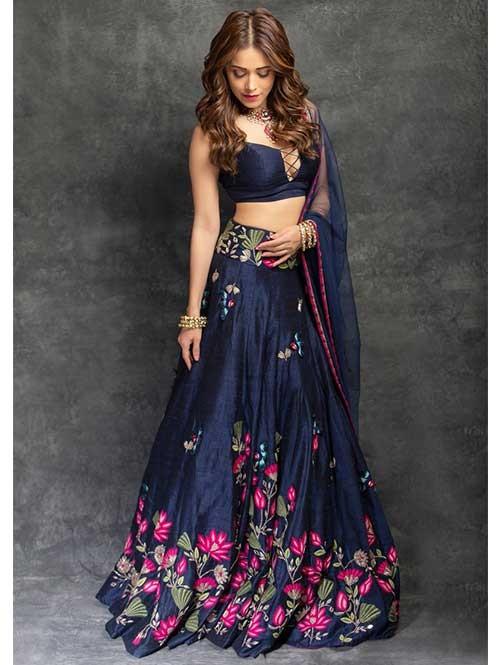 Nushrat Bharucha in Blue Colored Beautiful Embroidered Banglory Silk Lehenga Choli