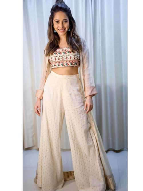 Nushrat Bharucha In Multi Colored Beautiful Palazzo With Crop Top